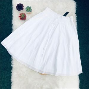 White Drawstring Midi Skirt NEW